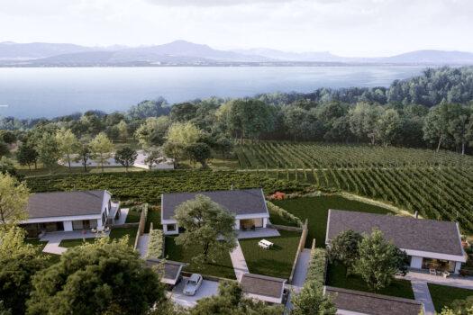 Vue aérienne Villas Dully Clos des Vignes avec vue sur le lac